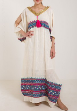 Beige Colorful Embroidered Kaftan