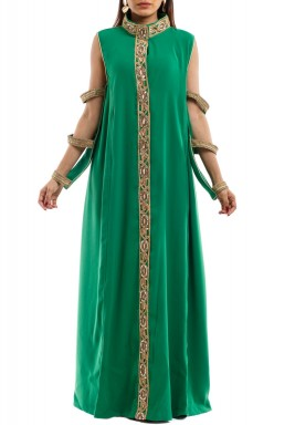 Green Mirror Cut Out Sleeves Kaftan