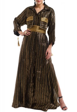 Black & Gold Striped Moroccan Kaftan