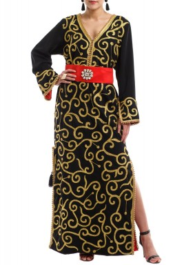 Black Embroidered Kaftan With Swarovski Belt