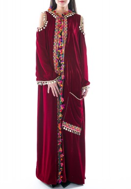 Maroon Hooded Colorful Embroidery Kaftan