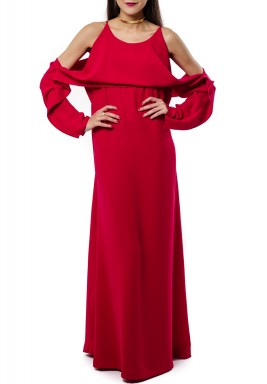Red Crepe Cold Shoulders Kaftan