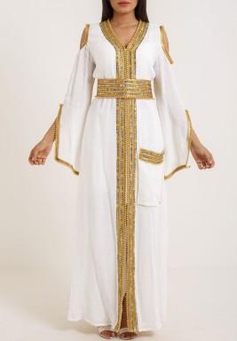 White Gazar tartar kaftan with belt