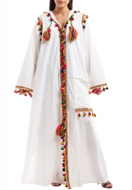 White Rabia Colorful Tassels Kaftan