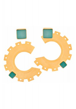 Pine green cogs & wheels earrings