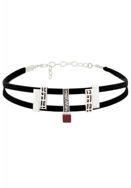Brick red building blocks choker