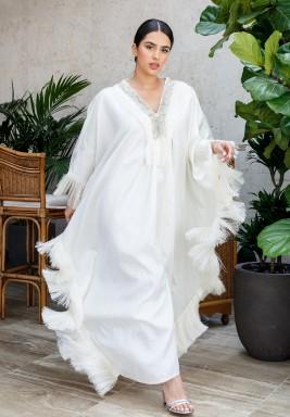 White Tasseled Maxi Kaftan
