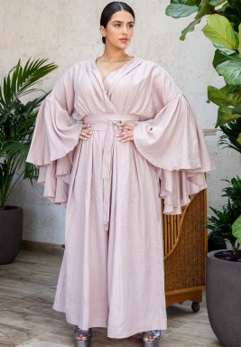 Pink Ruffled Oversized Sleeves Jumpsuit