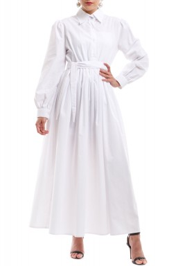 White Belted Maxi Dress