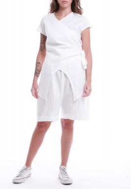 White Overlap Top & Shorts