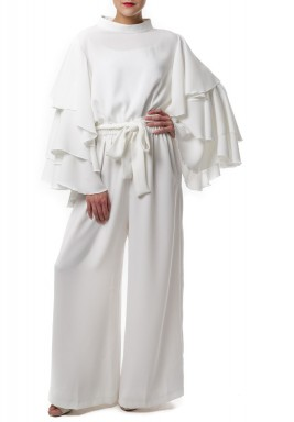 Ruffled jumpsuit white