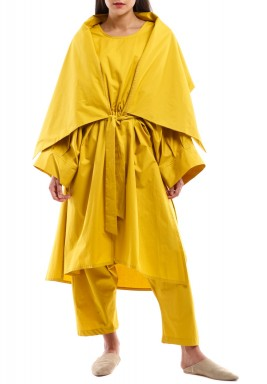Yellow Jumpsuit with Cardigan