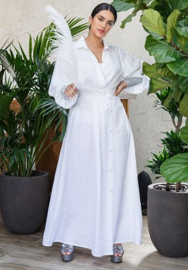 White Oversized Sleeves Button Through Kaftan