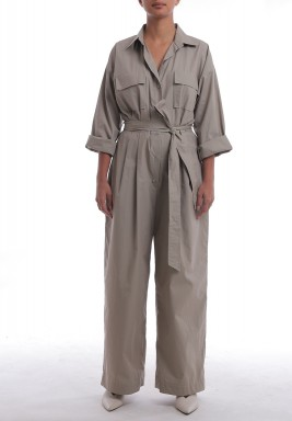 Beige Wide Legged Belted Jumpsuit