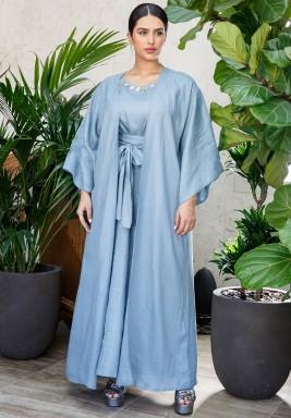 Blue Belted Kaftan Set