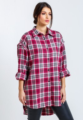 Pink Oversized Checked Shirt