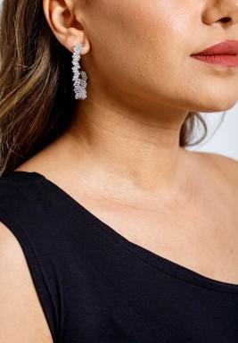 Silver-Tone Infinity Baguette Hoop Earrings
