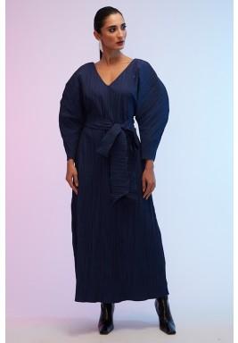 Blue Pleated Volume Sleeves Kaftan