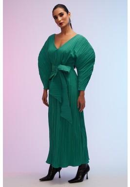 Green Pleated Volume Sleeves Kaftan