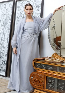Thea Grey Blue Belted Kaftan