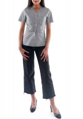 Grey Stitched Short Sleeves Top