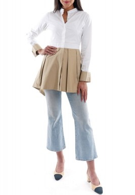 White & Beige Pleated Shirt