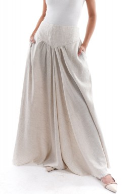 Beige Low Waist Maxi Skirt