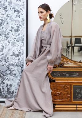 Thea Beige Belted Long Sleeves Kaftan