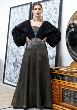 Grey & Black Blouson Sleeves Kaftan