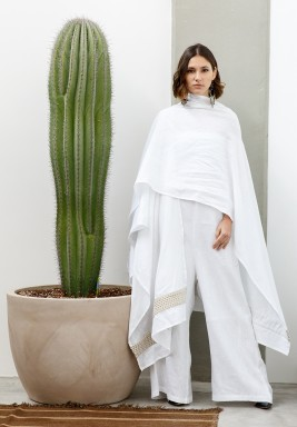 Luna White Jumpsuit With Embroidered Shawl
