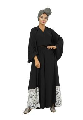 Kayo Black Printed Hem Kimono