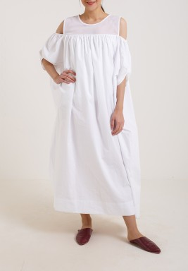 Cut out Shoulder kaftan White