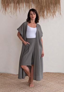 khaki Shorts and Bisht Set