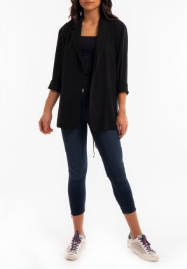 Black Tie Back Long Sleeves Blazer