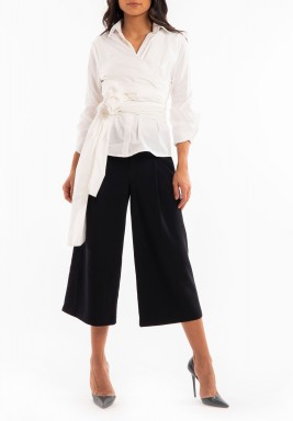 White Wrap Belted Shirt