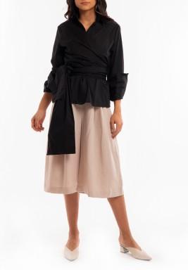 Black Wrap Belted Shirt