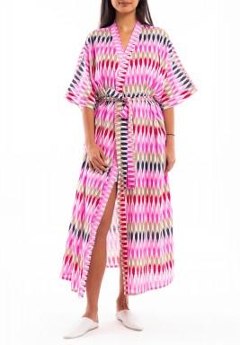 Pink Printed Midi Robe