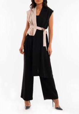 Half Pink Half Black Sleeveless Blazer