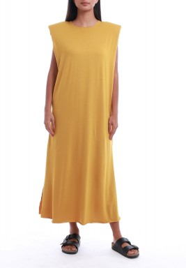 Mustard Padded Shoulders Dress