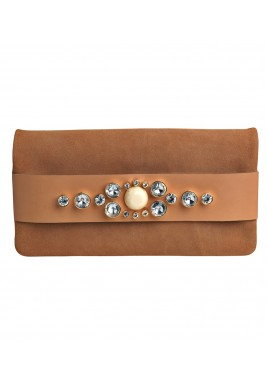Adika natural snake skin and acrylic rhinestones clutch