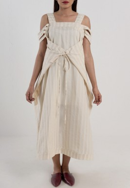 Beige & White Striped Front-Tie Dress