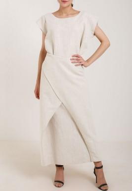 Wraped Linen Cutout Dress