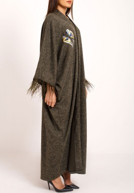 Grey Birds Embroidered Maxi Bisht