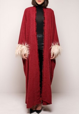 Maroon Wool & Feather Bisht