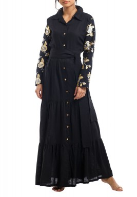 Black Sequined Ruffled Kaftan
