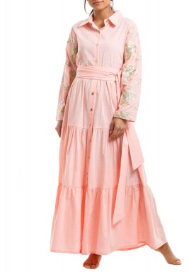 Pink Sequined Ruffled Kaftan