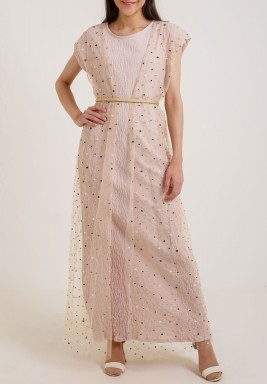 Gold Linen & Tulle Layer Dress