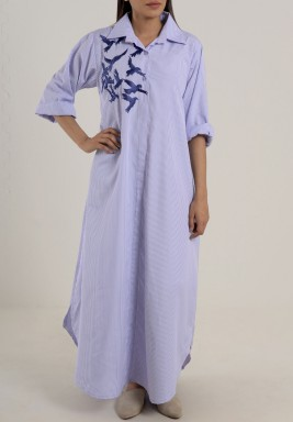 Long shirt dress with blue bird embroidery