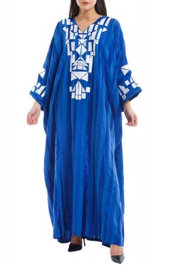 Lujainah Blue Embroidered Kaftan
