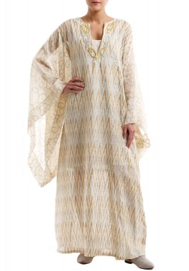 Butterfly sleeves patterned kaftan